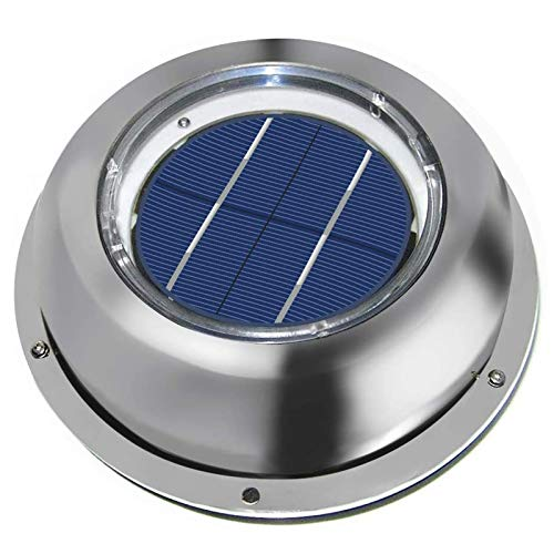 ECO-WORTHY Solar Powered Attic Fan Solar Venting Stainless Steel Solar Roof Vent with Rechargeable Battery for Attic Roof Shed RV Boats Caravan
