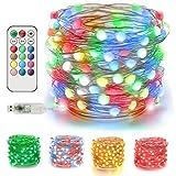 EEEKit Cadena de Luces LED 20M / 66FT 200 LED Luces de Hadas alimentadas por USB 12 Colores 12 Modos con Control Remoto para Navidad Decoración de árbol de jardín Interior al Aire Libre