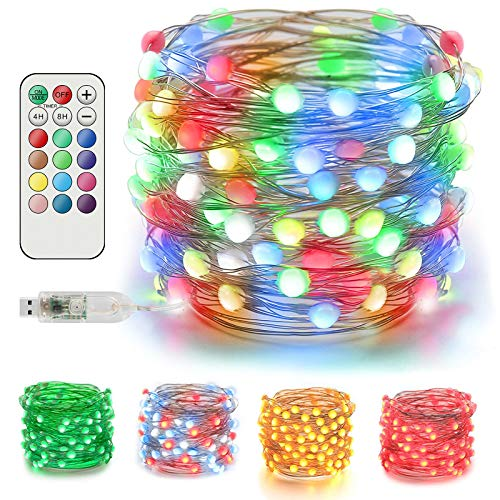 EEEKit LED String Lights 20M/66FT 200 LEDs USB Powered Fairy Lights 12 Colours 12 Modes with Remote Control for Christmas Mother's Day Indoor Outdoor Garden Tree Decor