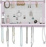 Comfify Organizador de joyería rústica Joyero de Pared con Pulsera de pie, Estante y 16 Ganchos extraíbles - Pendientes, Collares y Pulseras Expositor de Joyas Vintage - Rosa