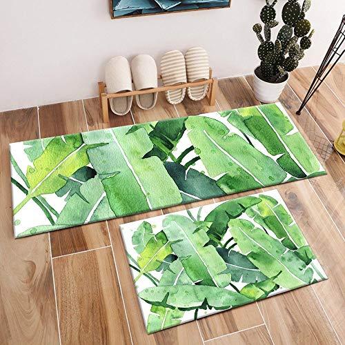 KEAINIDENI toiletmat Green Banana Leaf Area tapijt en kristal fluweel groot tapijt voor kinderen baby thuis woonkamer kussen slaapkamer vloer bad toiletmat 60cm W x 40cm L