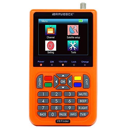 TTLIFE V9 Medidor de buscador de satélite Digital, HD 1080P FTA LCD de 3,5 Pulgadas Incorporado 3000 mAh, DVB-S / S2 H.265 para Ajuste de Antena parabólica