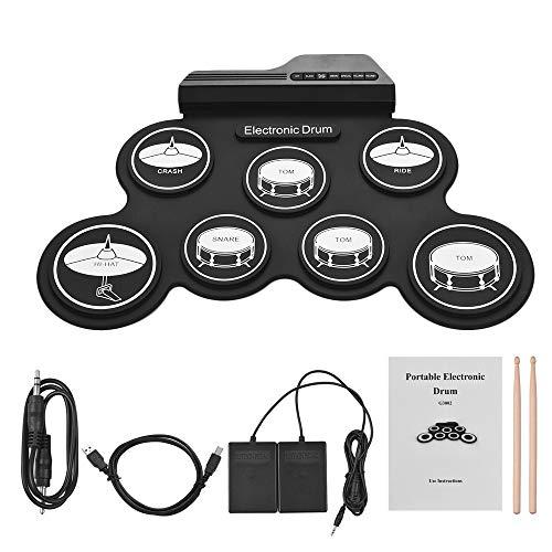 LuYi-Ww Batteria Elettronica USB Kit Dimensioni del Rotolo-up della Silicon Digital Compact 7 Drum Pad con Bacchette Pedali per Principianti Bambini, in Uscita a Due canali, Buon Effetto sonoro