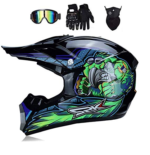 LEENY Casco de Motocross, Azul Verde Monster Casco de Cross de Moto...