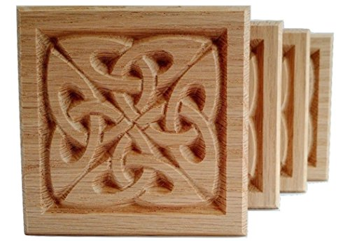 Set of 4:Carved Celtic'Quad Knot' Rosette Blocks, Made in USA (3.5'x3.5' RED Oak)