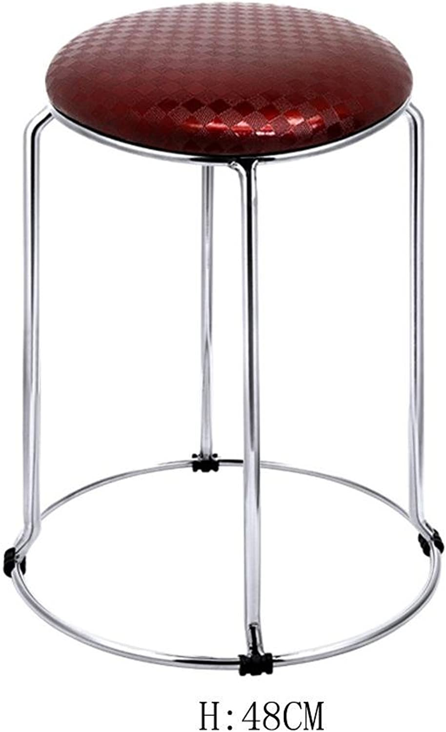 Modern Kitchen stools with Metal Legs High Stool Bar Stools PU Seat Breakfast Bar,Stainless Steel Four Corner Stool feet, Ring Height 36-48cm, 5,Simple Suave y Fuerte
