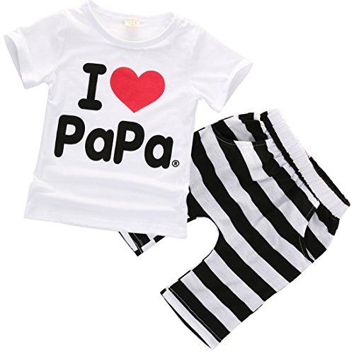 lheaio Conjunto de Playera de Manga Corta para bebé con Pantalones Cortos a Rayas, Amo a papá, 18-24 Meses