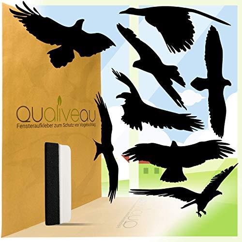 Qualiveau® 40cm Große Aufkleber zum Schutz vor Vogelschlag | Komplettset mit Rakel | Farbauswahl