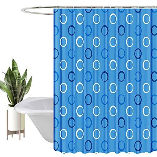 HEYOMART Duschvorhang, Wasserabweisend, Waschbar Digitaldruck Stoff Polyester Badewanne Vorhang, für Duschkabine, Badewannen, Badezimmer-Gardinen mit 12 Duschvorhängeringen (180x200cm, Blau)