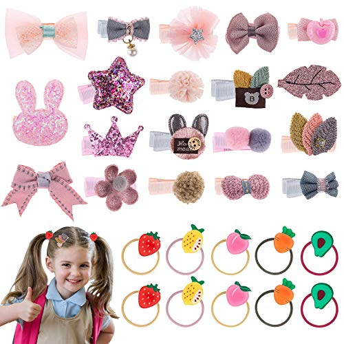 Baby Girl's Hair Clips, Gingbiss 29 Pcs Animal Fruit Bows Flower Elastic Cute Hair Bows, Ponytail Hair Ties Hair Accessories for Baby Girls Teens Toddlers, Assorted styles(19 Hair Clips, 10 Hair Ties)