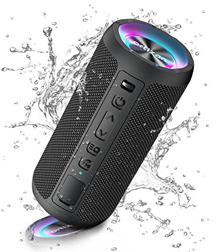 Ortizan Altavoz Bluetooth Potente Portatil X10P Negro con Luz LED de Color Hay Volumen Alto y Graves Potentes, Batería Grande 2600mAh Apoya Reproducción de Música 30H, Bluetooth 5.0 y IPX7 Impermeable