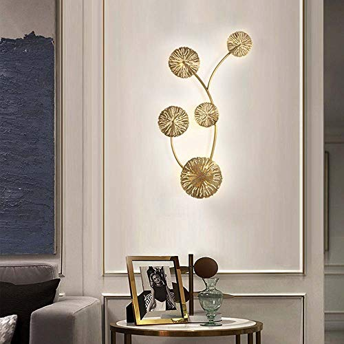 LCSD Lámpara de pared de 7 dormitorios de luz moderna minimalista moderna luz después de la pared de latón de lujo hoteles pasillo led creativo pared 35 x 80 cm de diámetro nórdico