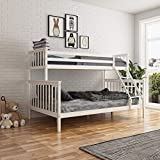 UNDRANDED Bunk Bed Triple Sleeper Bed Frame with Stairs Single Top Double Bottom Bedstead for Kids Adults and Children - White