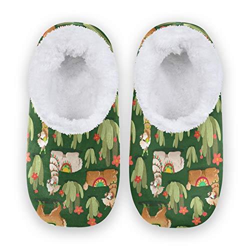 linomo Lama Cactus Alpaka - Zapatillas de estar por casa unisex para mujer y hombre, zapatillas de invierno cálidas para interior y exterior, color Multicolor, talla 40/42 EU