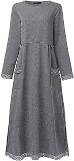 مقاس كبير خريفي برقبة مدورة بلوفر فستان للسيدات بأكمام طويلة مرقعة من القطيفة منفوش منفوش