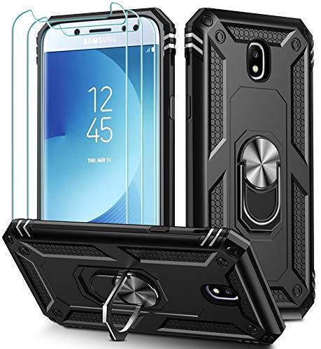 iVoler Cover per Samsung Galaxy J5 2017 con 3 Pezzi Pellicola Vetro Temperato, Grado Militare Custodia Protezione con Anello Ruotabile Cavalletto, Antiurto TPU Bumper Case - Nero