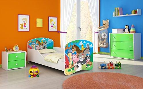 """Clamaro Kinderbett """"Dream´n Play"""" inkl. Matratze, Lattenrost und schützenden Seitenteilen, Jugendbett mit ABS Schutzkanten - 160x80 cm, Design: 34 - Farm Motiv"""
