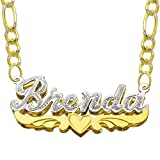 Pyramid Jewelry 14K Two Tone Gold Personalized Double Plate 3D Name Necklace - Style 8 (18 Inches, White Pave Figaro Chain)