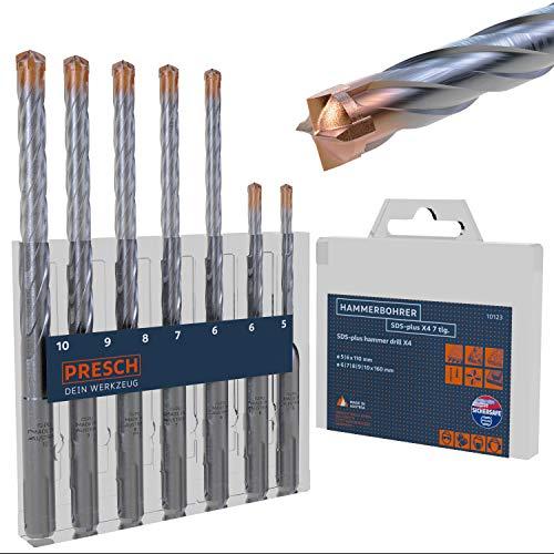 Presch SDS Plus Bohrer Set X4-7-tlg - Stahlbeton Bohrer mit 4 Schneiden und Dübellängenindikator - Hammerbohrer Set SDS für Beton, Stein, Granit, Ziegel, Mauerwerk - Betonbohrer Set Ø 5-10mm