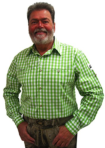 Herren Trachtenhemd grün weiß kariert Slim Fit Herrenhemd Langarm Edward Gr.44