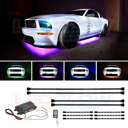 LEDGlow 4pc Million Color Multi-Color LED Underbody Underglow & 6pc Interior Footwell Accent Lighting Kit for Cars - 18 Solid Colors - 12 Unique Patterns - Music Mode - Includes Control Box & Remote