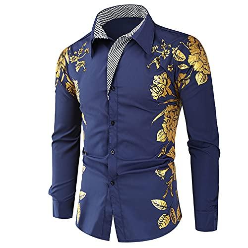 N\P Primavera Otoño Característica Hombres Casual Manga Larga Casual Slim Fit, Azul marino/flor y...
