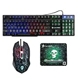 WEIWODUZUN Keyboard Mouse Set for PC PS4 PS3 Xbox One 360 T6 Gaming Rainbow Backlit Mechanical