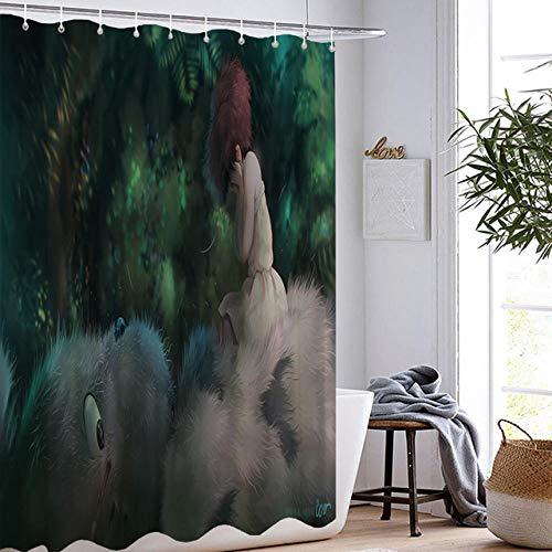DAMCOK Badezimmer Dekor Cartoon Totoro Duschvorhänge Anime Cartoon Wasserdichtes Polyestergewebe Waschbares Badezimmer Die Film Badvorhänge-B180cmxH180cm