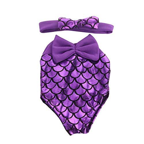 Uteruik Puppenkleidung Badeanzug mit Stirnband für 46 cm American Girl Boy Doll Casual Outfits – Meerjungfrau Kostüm Zubehör, 2 Stück/Set (lila)