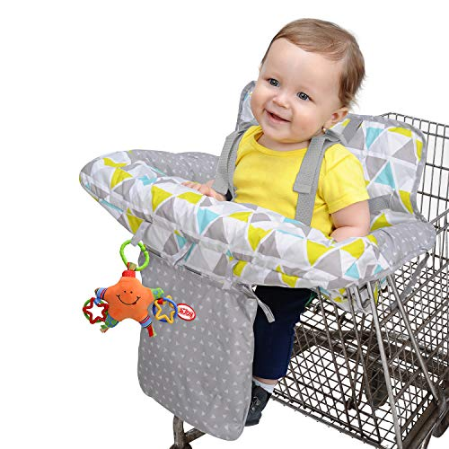 Nuby Baby Shopping Cart Cover and High Chair Cover 2 in 1, Ditsy Floral, High Chair Cushion, Baby Grocery Cart Cover, Infant High Chair Cover, Safety Harness, Cart Cover, Toddler, Universal Size