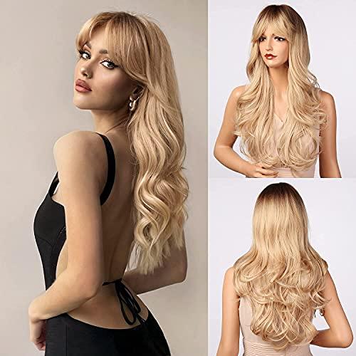 Utapossin Perruque Femme Longue Ondulé, Longues Perruques Blondes Bouclées, Blonde Wigs Perruques Femmes Cheveux Naturels Perruque Long Wavy Wig, une Utilisation Quotidienne