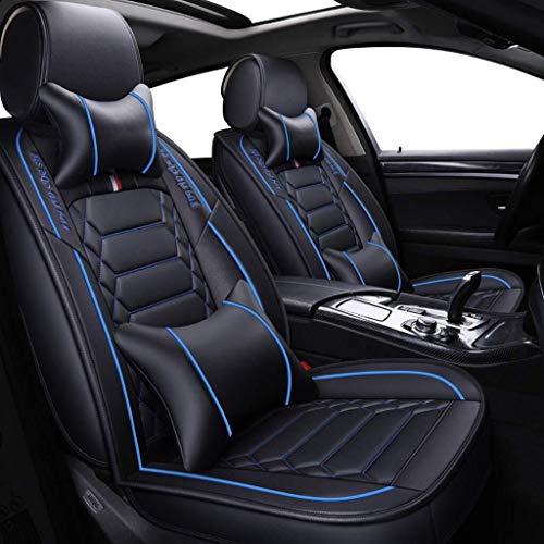 Housse de siège auto, avant et arrière, ensemble de 5 places Coussin protecteur universel Seasons en cuir, airbag compatible avec coussins. (Color : Bleu)