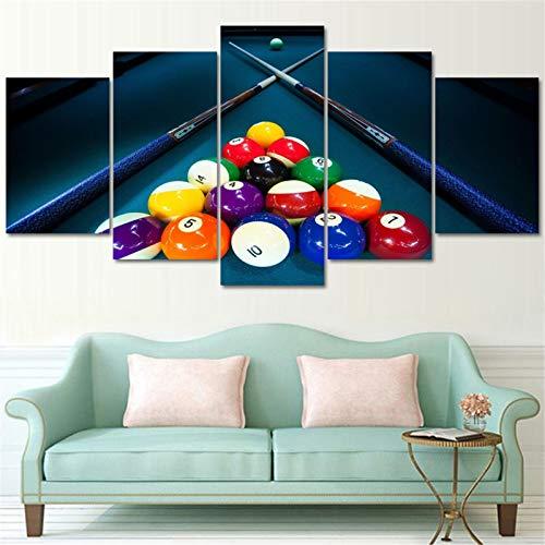 Donpeer 5 Teilig auf Leinwand Bilder Billiards 200x100cm Vlies Leinwandbild 5 Teilig Wandbild Kunstdruck auf Leinwand Modern für Wohnzimmer Schlafzimmer Küche Deko Geschenk Fertig zum Aufhängen