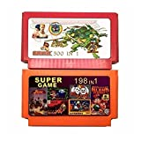 fleeting time GaoHR Colección de Juegos de 2 Piezas (500 en 1 + 198 en 1) 60 Pines Game Cartridge Fit for 8 bit Game Console con Nija contra DK Etc. HR