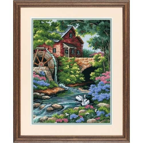 DIMENSIONS Old Mill Cottage Needlepoint Kit, 12'' W x 16'' H