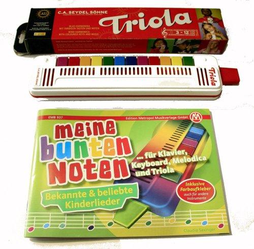 TRIOLA 12 die beliebte Blasharmonika mit farbigen Tasten für Kinder im Set mit dem Triola-Liederbuch MEINE BUNTEN NOTEN mit über 30 Kinderliedern