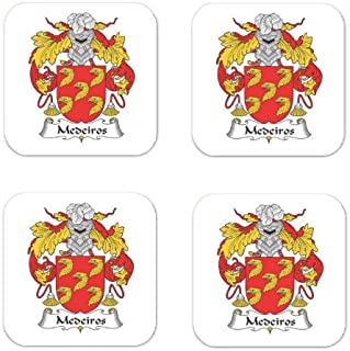 Medeiros Family Crest Square Coasters Coat of Arms Coasters - Set of 4