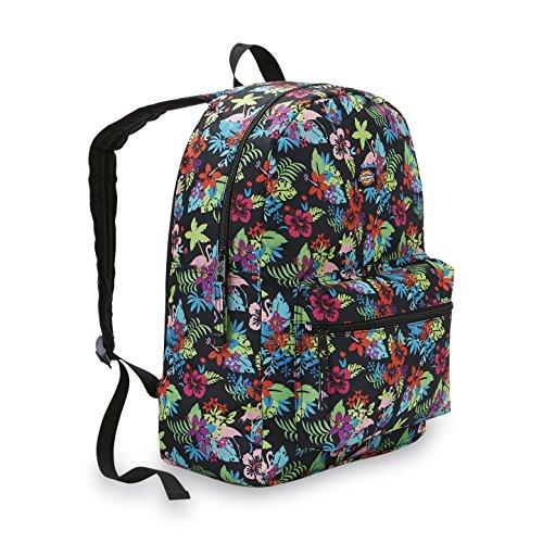 Dickies Student Backpack Tropical Flowers & Flamingos Canvas School Travel Pack