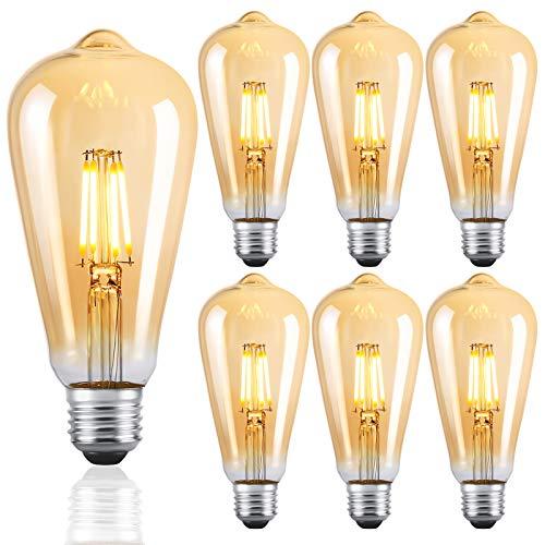 LED Lampen E27 ST64 Retro LED Dimmbare Glühbirnen Warmweiß 2700K Energiesparlampe Retro Glühbirne 360 ° Grad Strahlwinkel 4W Birne , 40W Glühlamp Enäquivalent Energieklasse A +(6er Pack)