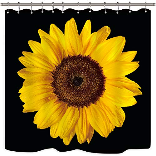 Riyidecor Sonnenblumen-Duschvorhang, Blütenmotiv, Schwarz & Gelb, Fotodruck, Blumen, cool Botanik, Naturstoff, wasserfest, für Zuhause, Badewanne, Deko, 12 Stück, Kunststoffhaken, 183 x 183 cm