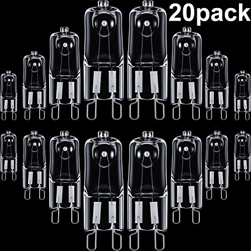 20 Pieces G9 Halogen Light Bulbs Clear Capsule 220-240 V Replacement for Signal Lights, Cooker Lighting, Energy Class C (25 Watt)