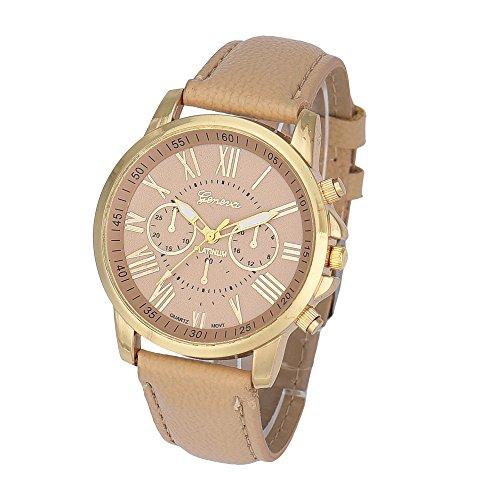 Reloj de la mujer, toamen ginebra mujeres números romanos piel sintética analógico de cuarzo reloj de pulsera