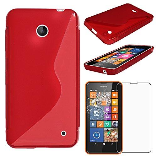 ebestStar - Cover Compatibile con Nokia Lumia 630 Custodia Protezione S-Line Design Silicone Gel TPU Morbida e Sottile, Rosso + Pellicola Vetro Temperato [Apparecchio: 129.5 x 66.7 x 9.2mm, 4.5'']