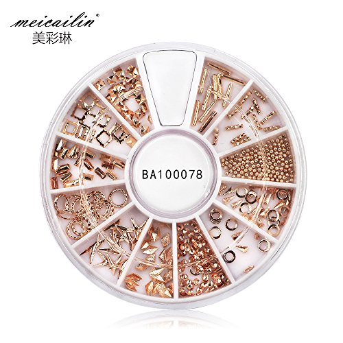 Meicailin 3D Tachuelas Pedrería para Uñas Decoración de Arte de Uñas Rueda de Diamantes Brillantes Nail Art Glitter