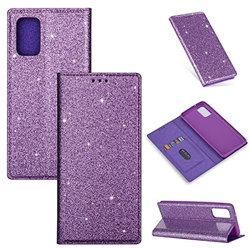 RUNNA per Samsung Galaxy A51 Ultrathin Glitter Custodia a Flip Orizzontale a Flip Orizzontale con Supporto e Slot per schede Alta qualità (Color : Purple)