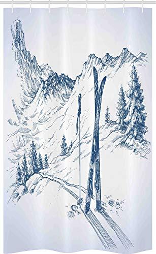 ABAKUHAUS Winter Schmaler Duschvorhang, Ski Sport Bergblick Skizze, Badezimmer Deko Set aus Stoff mit Haken, 120 x 180 cm, Weiß Dunkler Himmelsblau