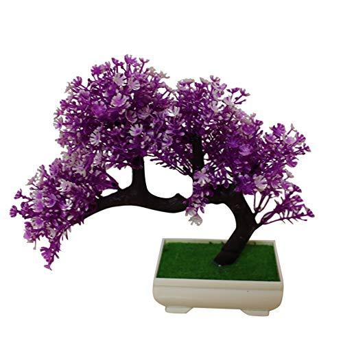 NAttnJf 1 Unid En Maceta Planta Artificial Mini Árbol Bonsai Jardín de DIY Wedding Home Party Oficina Hotel Decoración Purple