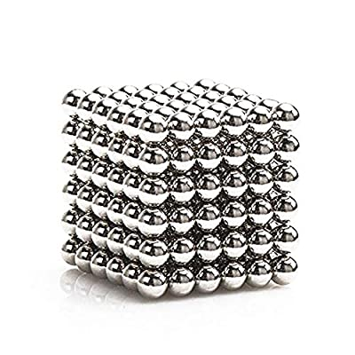 LiKee Upgraded 5MM 216pcs Magnets Sculpture Building Blocks Toys for Intelligence Learning -Office Toy & Stress Relief for Adults(Silver)