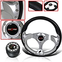 320mm Racing Style Steering Wheel Silver with Hub Adapter and Horn Button Carbon Fiber JDM