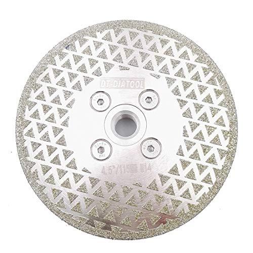 DT-DIATOOL Disco Diamante de Corte y Rectificado 115 mm x M14 Hoja de Sierra Electrochapado para Piedra Mármol Baldosa Granito